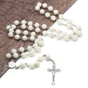 Kunststoff-Perlen Rosenkranz Kreuz Halskette katholischer Christ Hochzeit Gebetskette