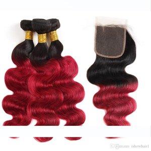 Kapatma Ombre Vücut Dalga İnsan Saç ile ishow Ombre Rengi T1B Bug saç örgüleri Uzantıları Peru Saç 3Bundles