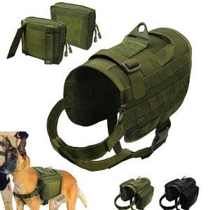 Taktische Hundegeschirr Militär Molle Weste Nylon Haustierburesse für mittelgroße Hunde Deutsche Hirte K9 Armee G BBYXWY
