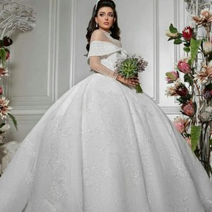 Arabic White A Line Wedding Dresses Long Sleeves Lace Beaded Sheer Neckline Bridal Gowns Plus Size Sequined robes de mariée