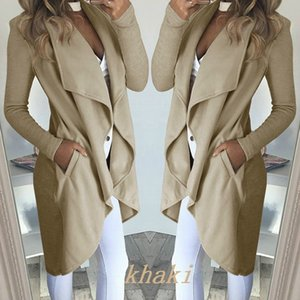 fashion 2020 large solid color Lapel slim long windbreaker coat woman