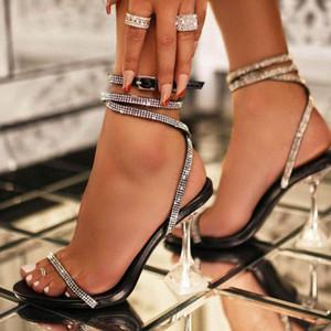 Hot Sale- Fashion Women Sandals Open Toe High Heels Shoes Woman Clear Transparent Summer Ankle Strap Lace up Sandalias