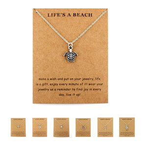 Life Is A Beach Jewelry Seahorse Sand Dollar Octopus Starfish Seashells Whale Wave Mermaids Sea Turtles Necklaces For Women