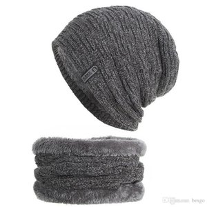 6 Colors Winter Men Knitted Wool Hats With Neckerchief Windproof Plus Velvet Thick Hat Elastic Breathable Soft Warm Party Caps DH0771 T03