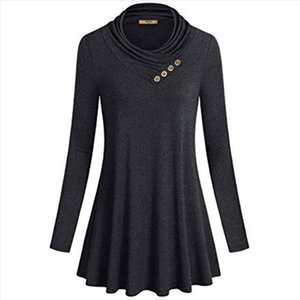 Fashion Tops Womens Button Cowl Neck Blouse Form Fitting Casual Tunic Top Blouse Dames Kleding Moda Mujer Roupa Woman Clothes