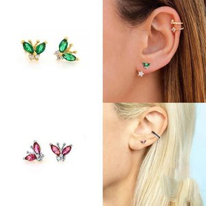 Color Shiny Zircon Butterfly Stud Earrings Women Small Earrings Fashion Flow Sweet High Quality Jewelry