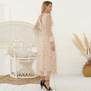Sequin New 2020 зимний женский длинный рукав осенью и кисточкой женское длинное платье