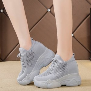 Rimocy Hidden Heels Platform Sneakers Women Breathable Air Mesh Wedge Sock Shoes Woman 2020 Spring Casual Shoes Zapatos De Mujer LJ200824