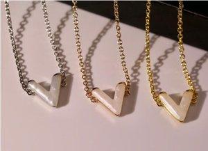 Top designer letter necklace gold silver Rose gold necklace V letter necklace for women