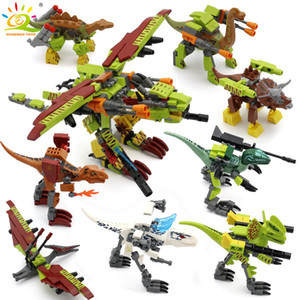 HUIQIBAO  set Jurassic Dinosaur Building Blocks Tyrannosaurus World Rex Velociraptor Park Figures Bricks children Toys LJ200928