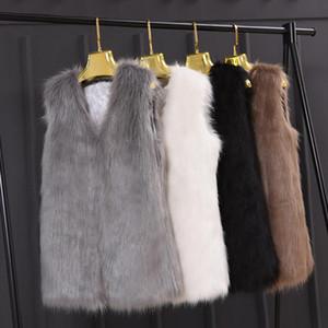 Plus Size 3XL Winter Sleeveless Slim Vest Jackets Coat Fashion Faux Fur Women Ladies Outerwear Waistcoat Black Gray