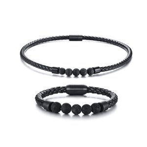 Mens Men Boho Hippie Jewelry Set Lava Rock Braided Leather Choker Necklace and Bracelet Mens Accessories