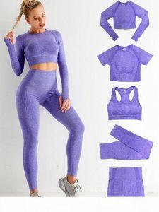 Autunm winter Gymshark 5Pcs Womens Vital Seamless Yoga Set Workout Sports Wear Gym Clothing Short Long Sleeve Crop Top High Waist Leggings