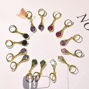 Hot Sale Colorful Crystal Stone Drop Earrings For Women Gold Color Crystal Clip Dangle Earrings for Women Girls Gift Jewelry Fashion