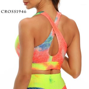 Cross1946 Running Sports Bra Yoga Brassiere Workoue Ginásio Fitness Mulheres sem costura Push Up Respirável Underwear Top1