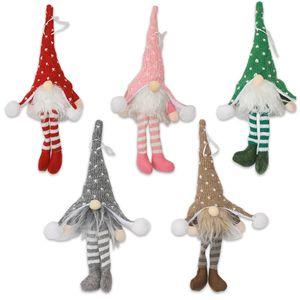 DHL New Noël Ghome Ornement Decoraion avec LED Tricoté longues jambes Forester Poupée d'arbre de Noël Pendentif pour les personnes âgées sans visage