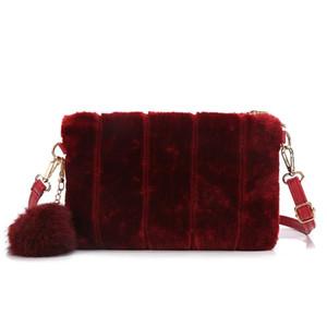 2020 Nuevo bolso de envoltura de peluche pequeño bolso de monedas para mujeres Moda Moda Bolsas de Crossbody para Lady Cute Tote Bolsis