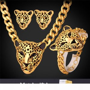 New Cool Items Lion Head Choker Necklace Bracelet For Women Men 18K Chunky Gold Plated Jewelry Sets designer Jewellery