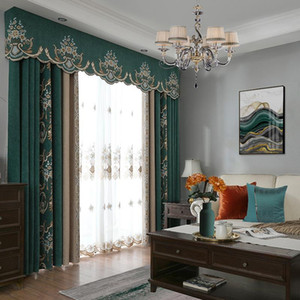 American Style Curtains for Living Dining Room Bedroom Luxury Pastoral Chenille Curtains Valances Finished Product Customization