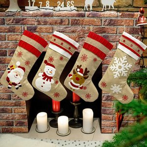 18.8inch Big Christmas Stockings Burlap Canvas Santa Snowman Reindeer Cuff Family Pack Gift Bags For Xmas Holiday Party Decor