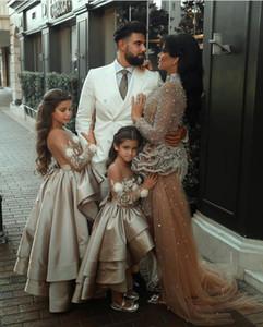 New 2021 A Line Mother and Girl Dresses Beaded Pearls Tulle Flower Girl Dresses For Wedding Champagne Kids Prom Dresses Custom Made