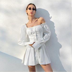 DABOURFEEL Seksi Kapalı Omuz Düğmesi Beyaz Mini Elbiseler Kadınlar Uzun Kollu Kılıf Gömlek Elbise Vestidos Festa Yaz 20201 Puckc