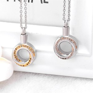 Cristal Infinity Circle Cremation Urn Necklace Memorial Joyería Acero inoxidable Ashes Keesake Forever Love Annulus
