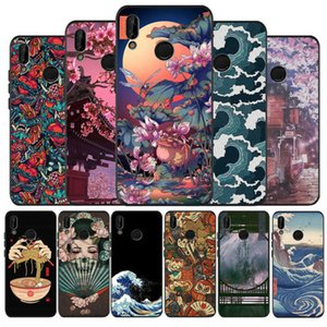 Japanese Style Art Japan black Silicone soft Phone Case For Huawei P40 P30 P20 P10 P9 Lite Pro 2019 P smart 2 Back cover Shell