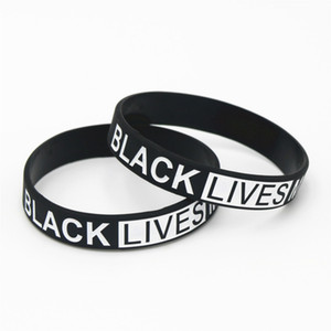 Februaryfrost Brand 1PC Hot Sale Black Lives Matter Silicone Wristband Black Silicone Rubber Bracelet & Bangles For Men Women Name Gifts SH1