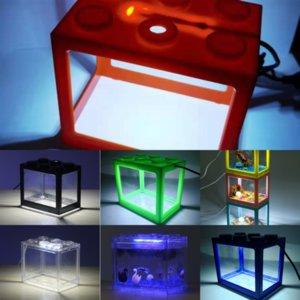 MBQNE Balık Lego Blokları Akvaryum Kabarcık Kurşun Peyzaj Taş Paketi Tank Havalandırıcı Hava Aqrium Işık Işık Balık Tankı Lambası Oksijen Hava
