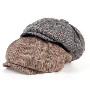 2020 new Fashion Gentleman Octagonal Cap Newsboy Beret Hat Autumn And Winter For Men's Models Flat Caps