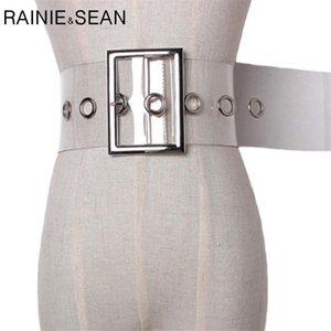 RAINIE SEAN Wide Ladies Belt Pin Buckle Belt for Women Cummerbund PVC Transparent Female 2020 Fashion Brand New Belt Clear 1012