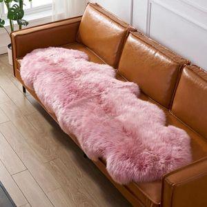 Honey pink color 2P whole pelt NewZealand sheepskin rug 60*180cm purple shaggy sheep fur decor carpet for girl bed slide carpet