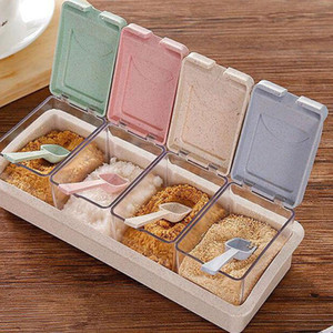 القمح سترو التوابل التوابل مربع تخزين الحاويات تدخل يمكن أن الجرار cruet مع غطاء أدوات المطبخ ملعقة