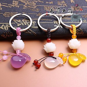 Wholesale Customization Natural Agate DIY Blessing Bag Bodhi lotus Key Ring Jewellery Fashion Accessories Man Woman Luck Amulet