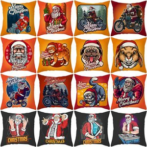 Funny Santa Christmas Throw Pillow Covers 18x18 Inch Santa Claus Pets Home Decorative Pillowcase for Couch Sofa OWE2157