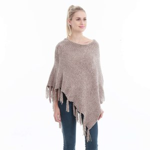 Hot selling women's shawl style tassel chenille Pullover scarf Cape