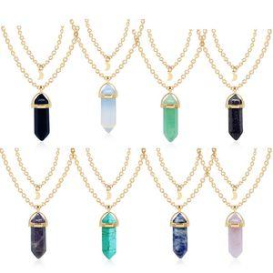 Catene pendente di modo di cristallo esagonale di pietra naturale collane Tiger Eye AMETHYSTE Moon Stone 10 stili per i monili del regalo delle donne