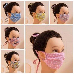 Máscara Mascarilla facial con la cuerda larga del oído a prevenir la otitis Máscaras Dolor reutilizable lavable de algodón Partido Maske adulto diseñadores de moda boca cubierta YW18