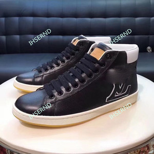 Top new classic flat calfskin comfortable high-quality lace-up high-top sneakers men's design fashion casual shoes styles