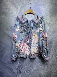 Spring and summer 2021 new butterfly collar, pleated flounces, long sleeves, waist tucked temperament printed blouse