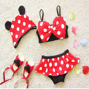 Wholesale 2021 New Summer Baby Girls 3-pcs Sets Swimwear Cartoon Mouse White Dot Sling Bow Swimsuits with Cap Kids Clothes E5088