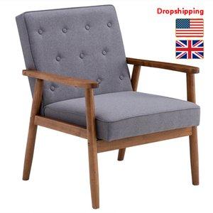 Stokta ABD İNGILTERE Ahşap Tek Sandalye Masif Ahşap Koltuk Orta Yüzyıl Gri Kumaş Retro Oturma Odası için Modern
