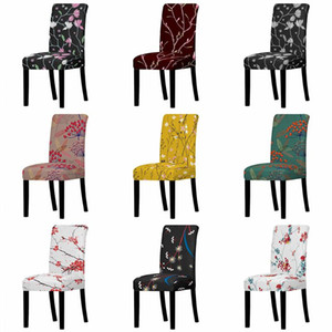 Floral Plant Elastic Chair Cover Europe Style Spandex Stretch Anti-dirty Removable Chair Cover for Wedding Dining Office Banquet