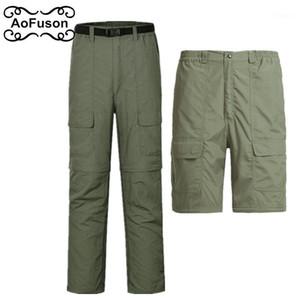 Transpirable removible Rápido al aire libre Senderismo Pantalones Hombres Pesca Deporte Pantalones Ejército Verano Camping Pantalones cortos 20201