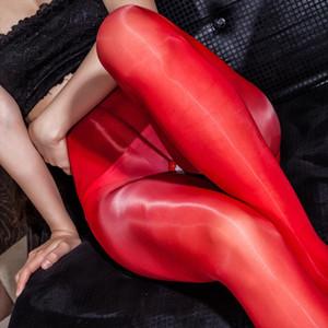 Open промежность Масло Глянцевая Блеск высокой талией Леггинсы Sexy Hot Erotic Fetish Прозрачный тонкий нейлон Bodynets гетры Clubwear Брюки