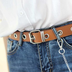 Pu Упряжь Ремни Silver Pin Пряжка металл Waistband Brown Женщина досуг джинсы цепь дама Новая вогнутая форма Пояс черный