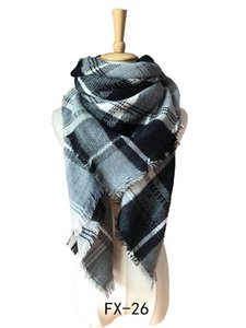 Luxury-Autumn winter scarf female euramerican chaddar increase double colorful grid square scarf 2020 latest fashion collocation