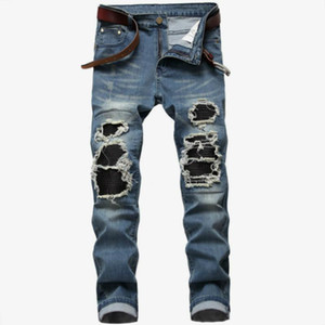 2020 Mens beiläufige Jeans Slim Fit Hip Hop Jeans Men`s Jeans-Denim-Hosen Light Blue Schwarze Hosen Motorradhose