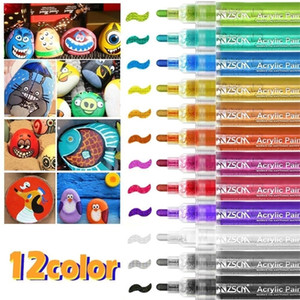 12 Colors Acrylic Paint Marker Pen Metallic White Marker for Ceramic Rock Glass Mug Wood Fabric Canvas Halloween Card Painting 201125